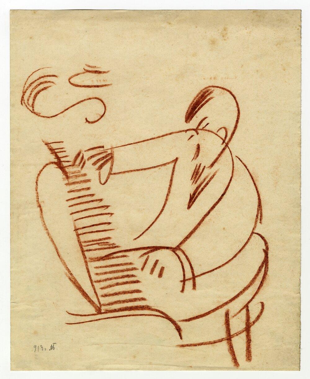 Олександр Богомазов. Художник грає на піаніно. 1913. Із колекції Едуарда Димшица