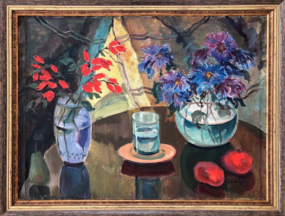 Адальберт Ерделі. Натюрморт з квітами та червоними яблуками. 1930-ті. Із колекції Едуарда Димшица