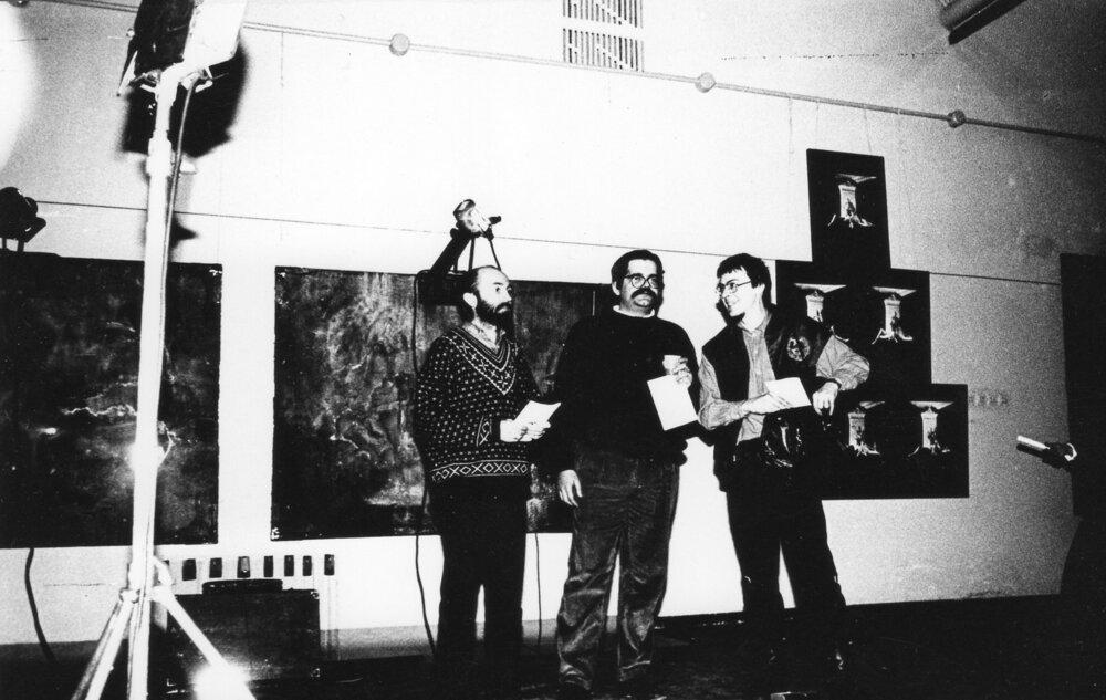 Олександр Соловйов, Костянтин Акінша, Гліб Вишеславський на відкритті вистаки «Штиль», 1992 рік
