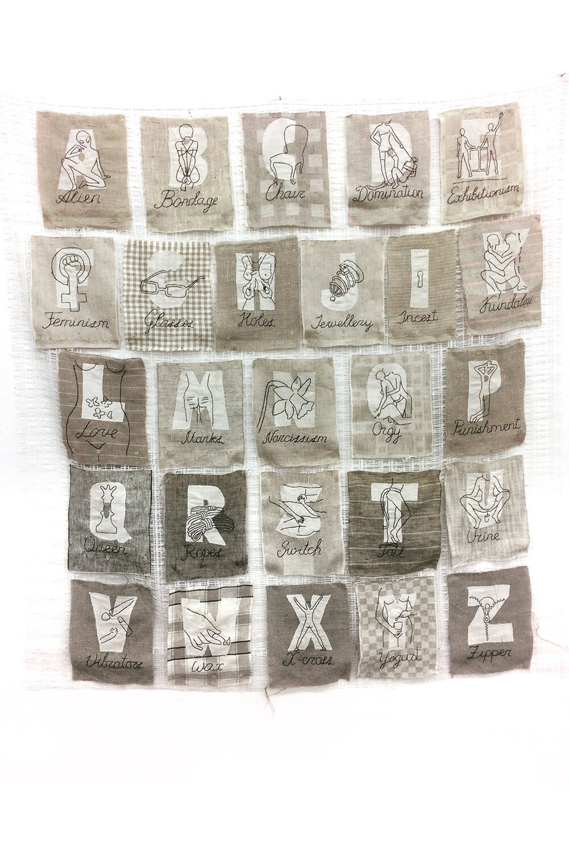 «Мiй алфавiт», 2018, текстиль, ручна та машинна вишивка