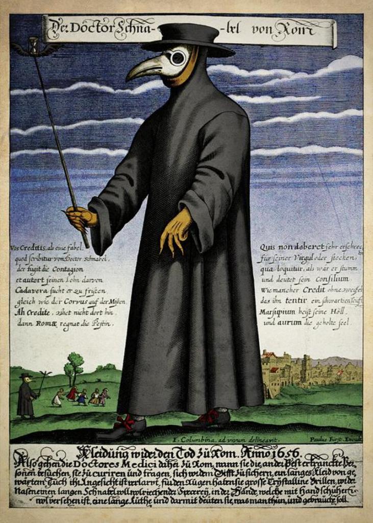 Кольорова мідна гравюра доктора Шнабеля, опублікована Полом Фюрстом (бл. 1656)