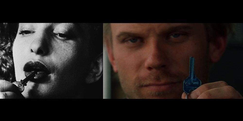 Кадр із  « Сіток дня» та кадр из  « Малхолланд Драйву» Девіда Лінча