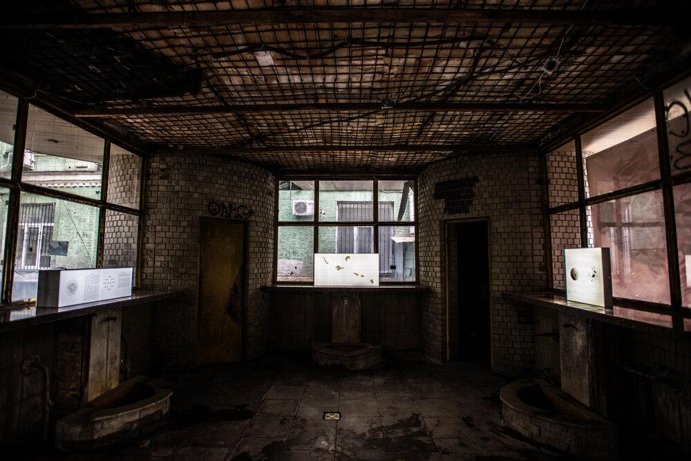 Вигляд експозиції виставки «Поступова втрата зору» в просторі бювету «Джерело», 2020. Фото: Наталка Дяченко