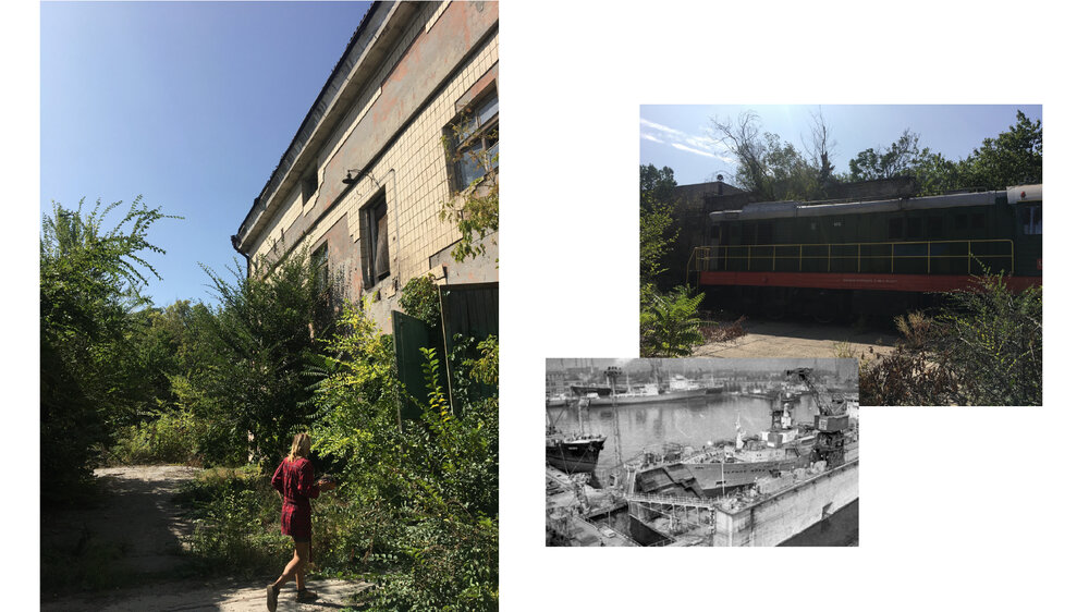 Зліва: Артур Сніткус на території заводу СРЗ-2. Справа: архівне фото корабля та поїзд, який приходить з Одеського порту