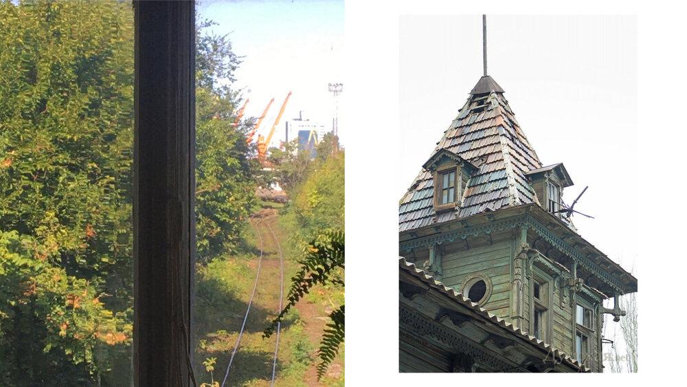 Зліва: колія від Одеського порту до СРЗ-2. Справа: вежа рятувальної станції