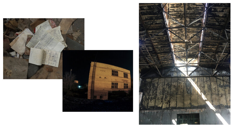 Документи, розкидані на заводі, та вигляд цехів