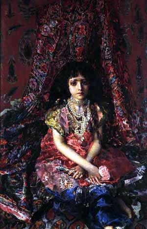 Міхаіл Врубель, «Дівчина на фоні персидського килима», 1886. З колекції Музею російського мистецтва