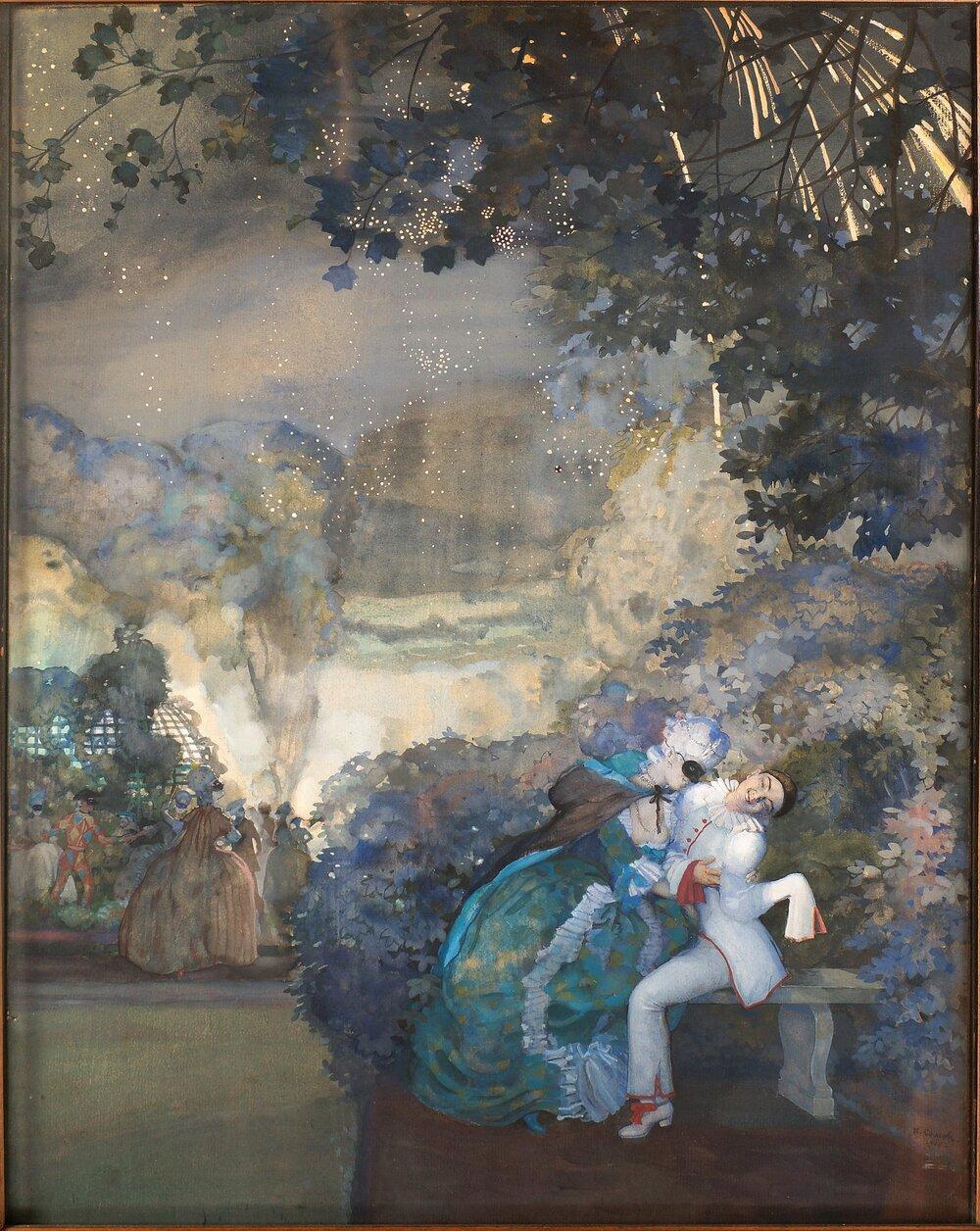 Костянтин Сомов, «П'єро й дама на фоні феєрверку», 1910
