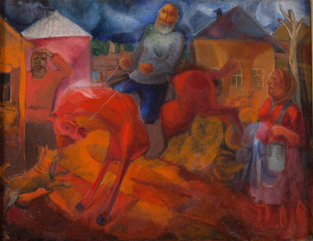 В селі. Об'їжджають коня. 1927. Колекція NAMU