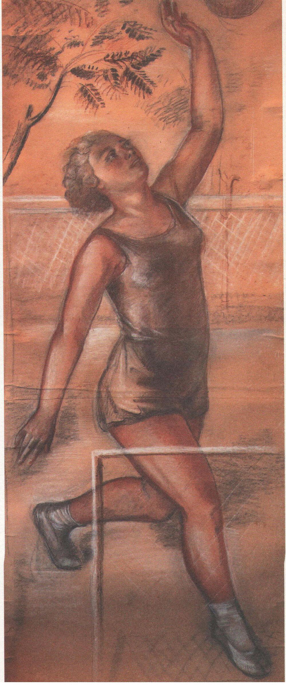 Оксана Павленко, Ескіз фрески Фізкультура і спорт у СРСР у Харківському червонозаводському театрі, 1932- 1934, Колекція Запорізького обласно