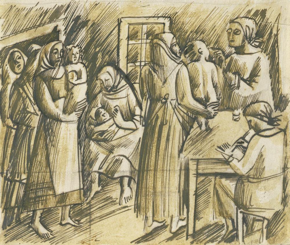 Оксана Павленко, Ескіз до картини, Жіноча консультація на селі, 1928, Колекція NAMU