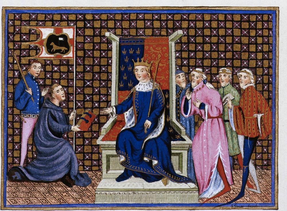 Англійський король Річард II, 1367-1400, зображений на троні в оточенні членів його двору у французькій рукописі ca. 1401-05. Світлина: THE ART ARCHIVE/SHUTTERSTOCK