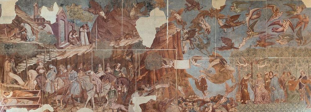 Буонаміко Буффальмакко, «Тріумф смерті», фреска, 1330-ті, кладовище Кампосанто, (Піза, Італія)