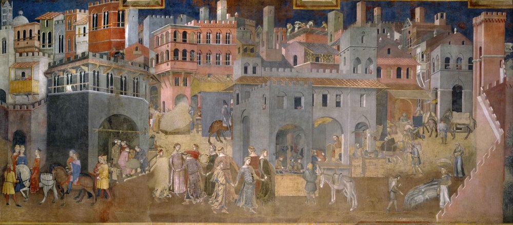 Амброджо Лоренцетті, «Плоди доброго правління», фреска, 1337–1339, Палаццо Публіко, (Сієна, Італія)