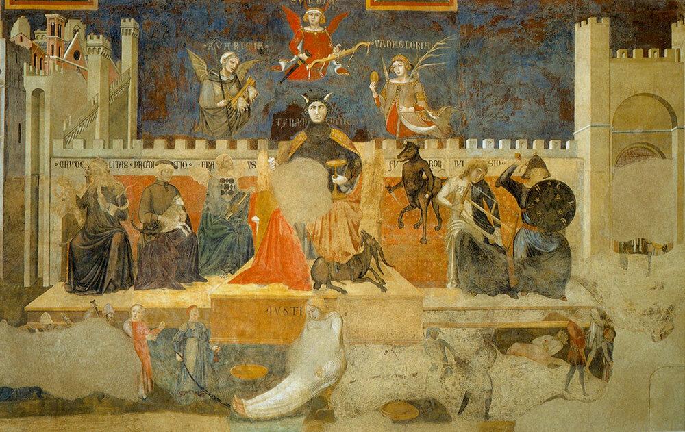 Амброджо Лоренцетті, «Плоди марнославного правління», фреска, 1337–1339, Палаццо Публіко, (Сієна, Італія)