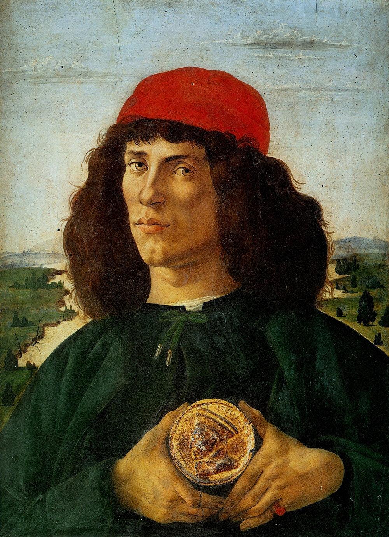 Сандро Боттічеллі, портрет юнака (з портретом Козімо Медічі в руках), Галерея Уффіці, (Флоренція, Італія)