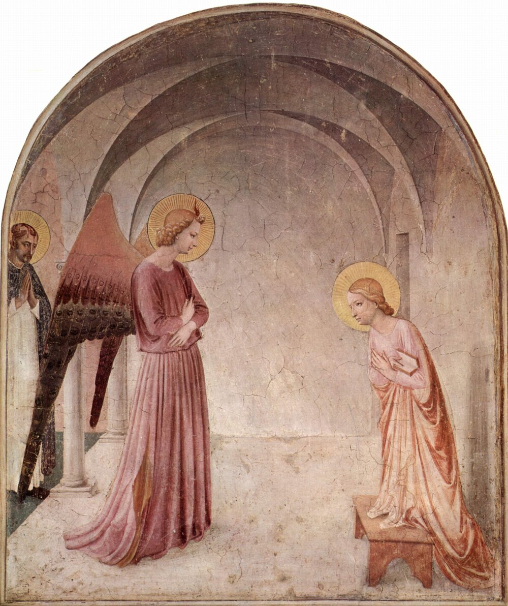 Фра Анджеліко, «Благовіщення», 1440–1442, церква Сан-Марко, тепер музейний комплекс, (Флоренція, Італія)