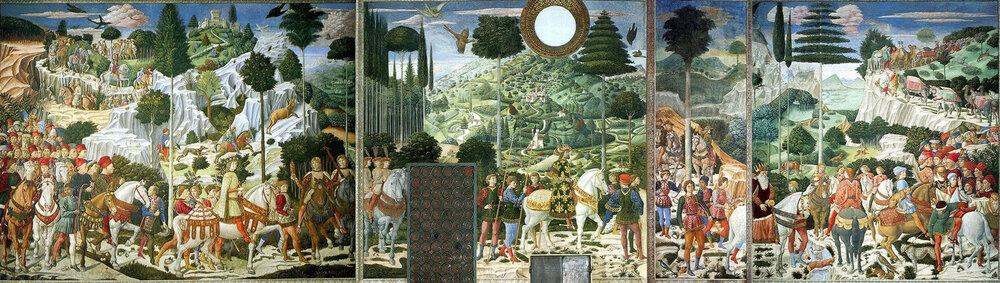 Беноццо Ґоццолі, «Шестя волхвів», 1459–1461, фреска на східній стіні каплиці, Палаццо Медічі, (Флоренція, Італія)
