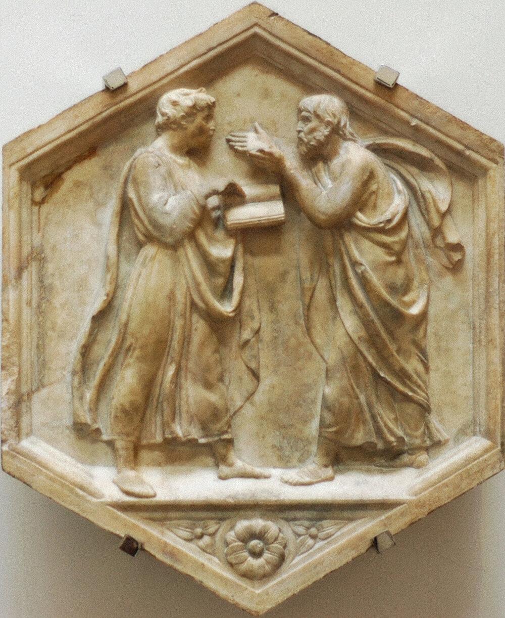 Лука делла Роббіа, «Філософи Платон і Аристотель», 1437–1439, церква Сан-Лоренцо, (Флоренція, Італія)