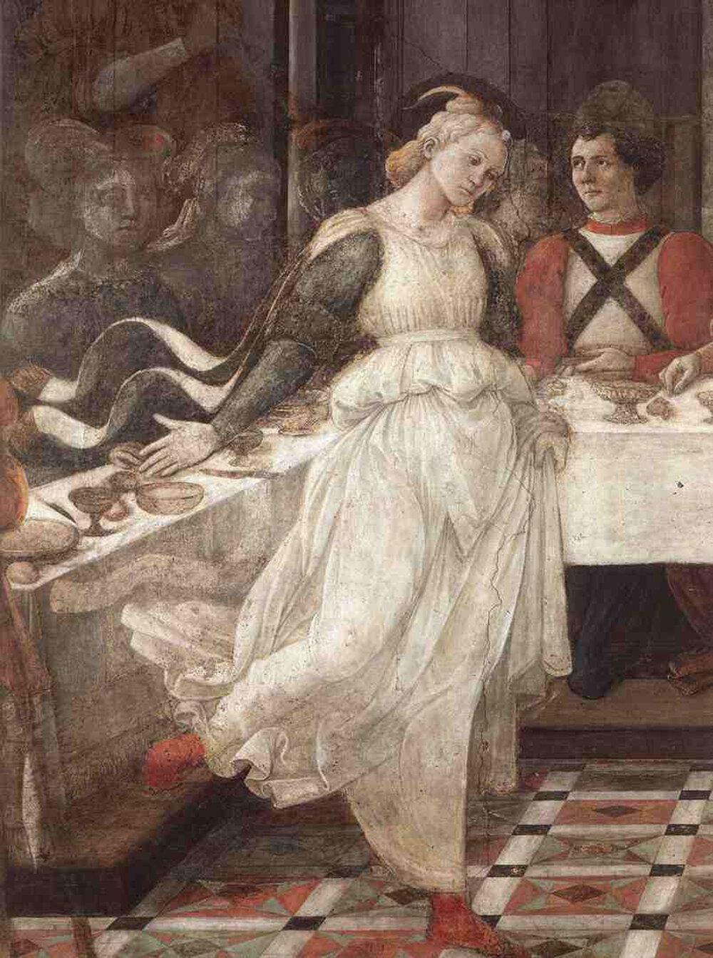 Філіппо Ліппі, «Лукреція Буті» (частина фрески), 1452–1465, Собор Прато, (Прато, Італія)