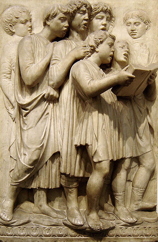 Лука делла Роббіа, канторія для собору Санта-Марія-дель-Фйоре, 1431–1438, Музей створення Флорентійського собору, (Флоренція, Італія)