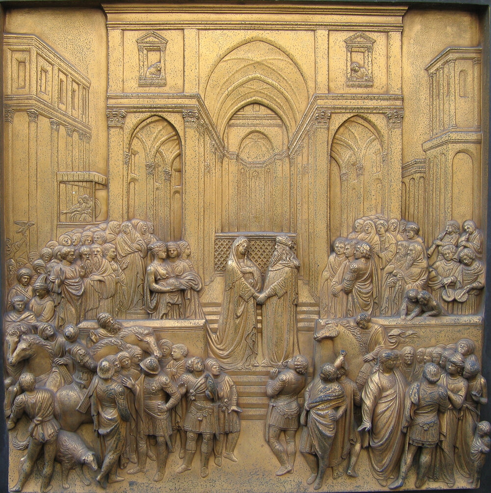 Лоренцо Гіберті, Райські ворота, «Зустріч Соломона і цариці Савської», 1425–1452, Баптистерій Сан-Джованні, (Флоренція, Італія)