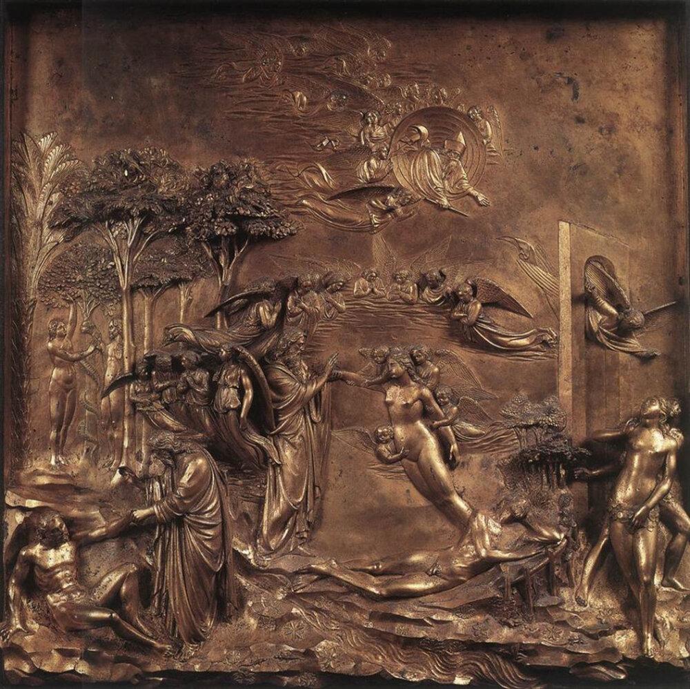Лоренцо Гіберті, Східні ворота, «Сотворіння Адама і Єви», 1425–52, Баптистерій Сан-Джованні, (Флоренція, Італія)