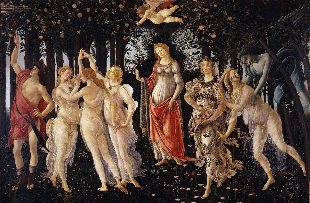 Сандро Боттічеллі, «Весна»,1482, Галерея Уффіці (Флоренція, Італія)