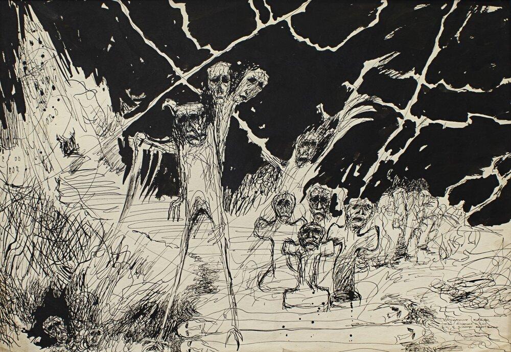 Мирослав Ягода, «Путешествие птицы белеющими сетями в зенице мертвого», конец 1980-х
