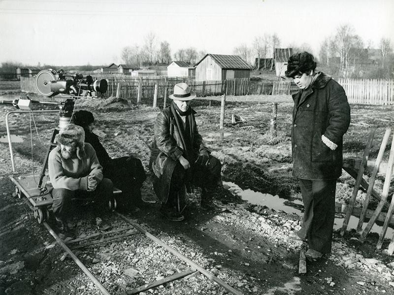 Алєксєй Герман і Андрєй Міронов на зйомках фільму «Мій друг Іван Лапшин». Джерело:  123 Versions