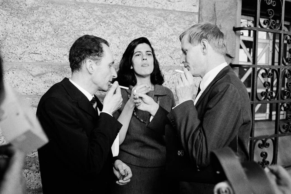 Уолтер Холлерер, Сьюзен Зонтаґ та Ганс-Магнус Енценсбергер.  Фото : The LIFE Images Collection via Getty Images