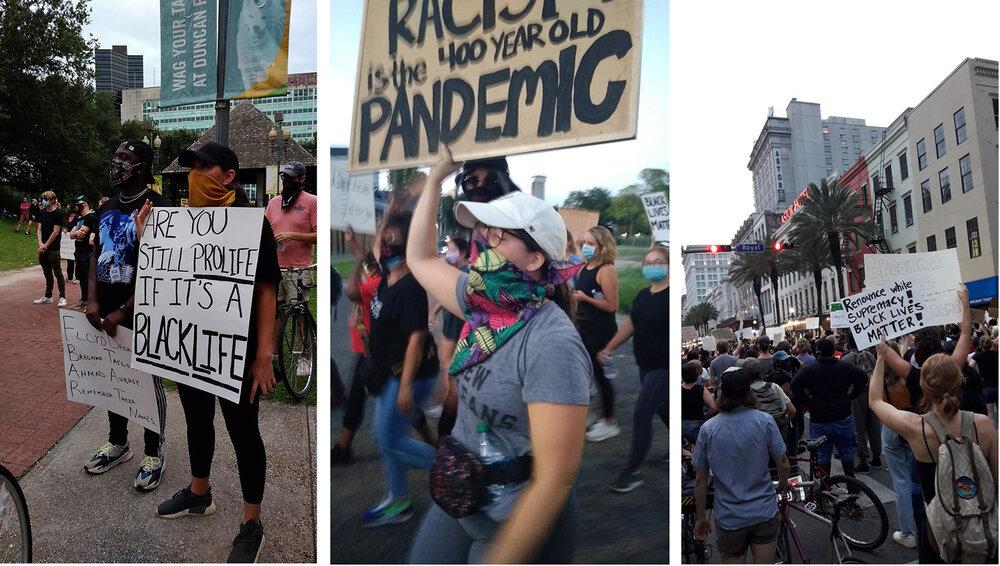 Фото з акцій протесту в Новому Орлеані Оксани Брюховецької і Меланії Черепаниної