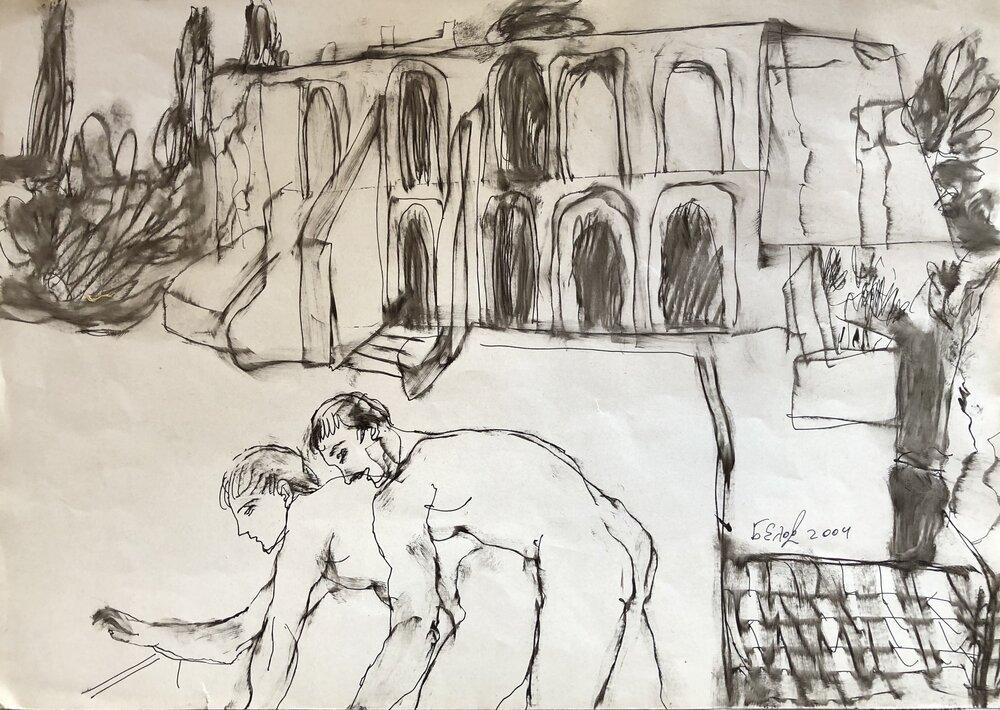 Анатолій Бєлов, із серії ілюстрацій до «Сатирикону» Петронія, 2004. Фото надано організаторами виставки