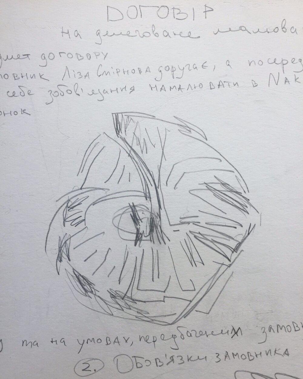 Договір Лізи Смирнової та Катерини Олейник на «делеговане малювання». Надано Марком Чегодаєвим