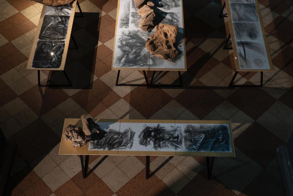 Музей І. Г. Пінзеля: серія «Складки» (проєкт «Лінія розмежування», 2016), фрагменти скульптури «Іоаким» І. Г. Пінзеля