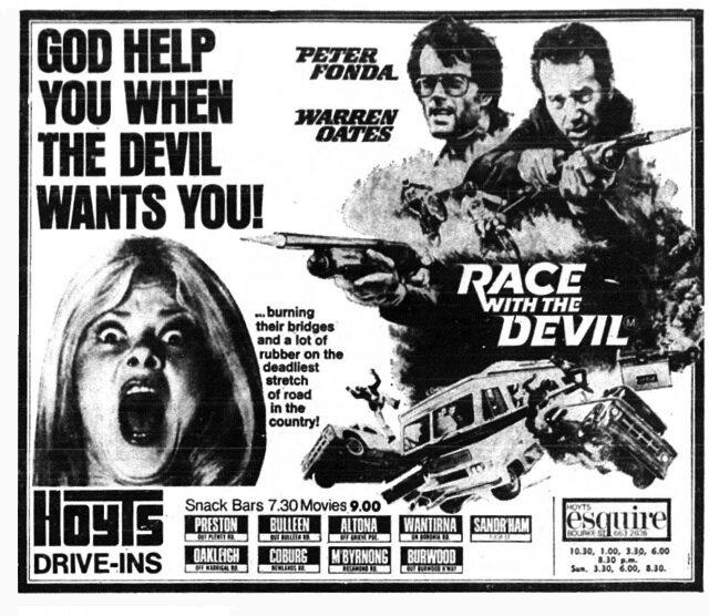 Афіша до фільму «Перегони з дияволом» (1975)