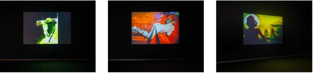 Борис Михайлов. Наложение (Вчерашний бутерброд). Экспозиция выставки «Запрещенное изображение», 2019 (Кураторы: Бьорн Гельдхоф; Мартин Кифер; Алисия Нок), PinchukArtCentre, Киев. Реконструкция слайд-шоу Бориса Михайлова с музыкой Pink Floyd кон. 1960-х — нач. 1970-х. Фотографии предоставлены PinchukArtCentre © 2019. Фотограф: Максим Белоусов. Источник:    http://new.pinchukartcentre.org/borys-mykhailov-ru