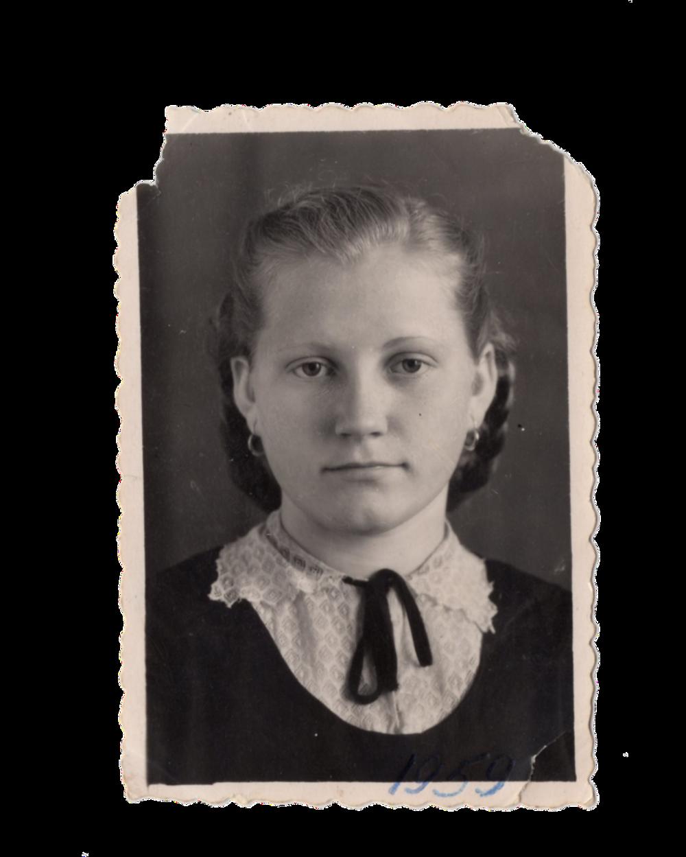Фото, яке Ганна відправила батькові,1959. Джерело: Меморіальний музей «Територія Терору»