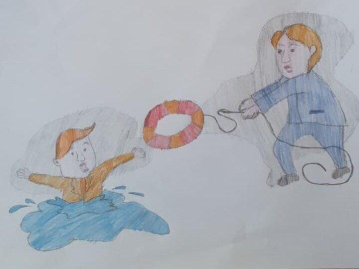 Малюнок для конкурсу дитячого малюнку від фонду Ріната Ахметова. Бараниченко Саша, 11 років. Джерело:  https://www.facebook.com/AkhmetovFDU/posts/4416268475080677