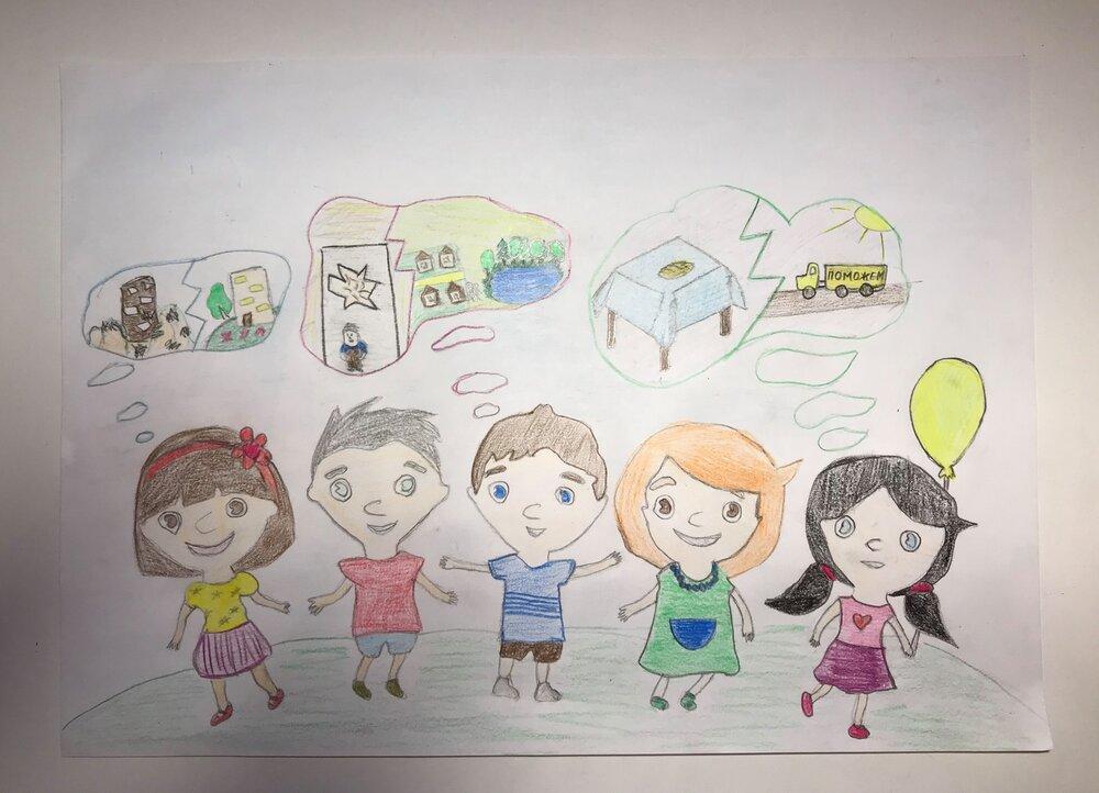 Малюнок для конкурсу дитячого малюнку від фонду Ріната Ахметова. Чумак Анастасія, 12 років. Джерело:  https://www.facebook.com/AkhmetovFDU/posts/4416268475080677
