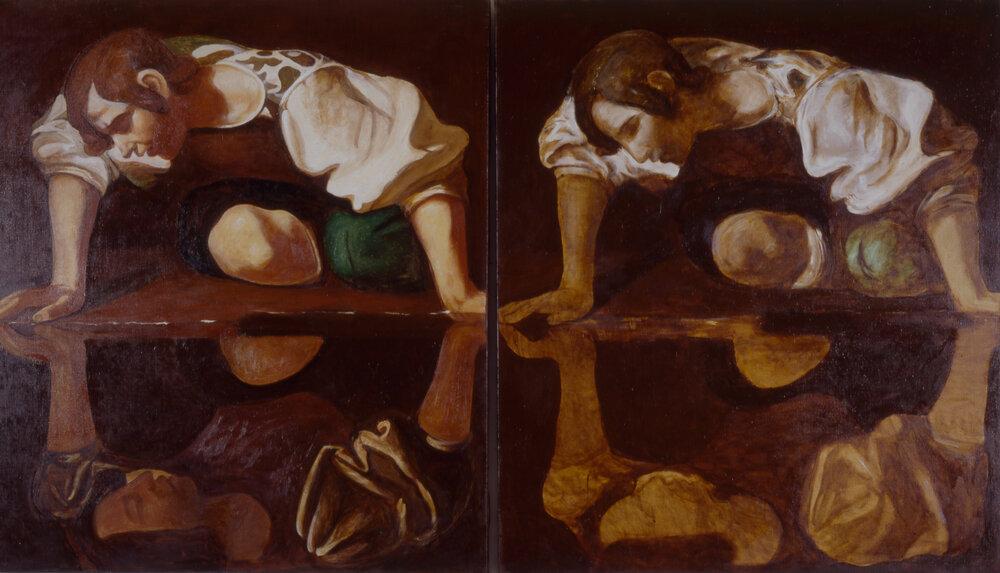 Павел Керестей. Dear Painter, paint me a painting (фрагмент) , 1991, 10 артефактов как результат перформанса, масло на холсте