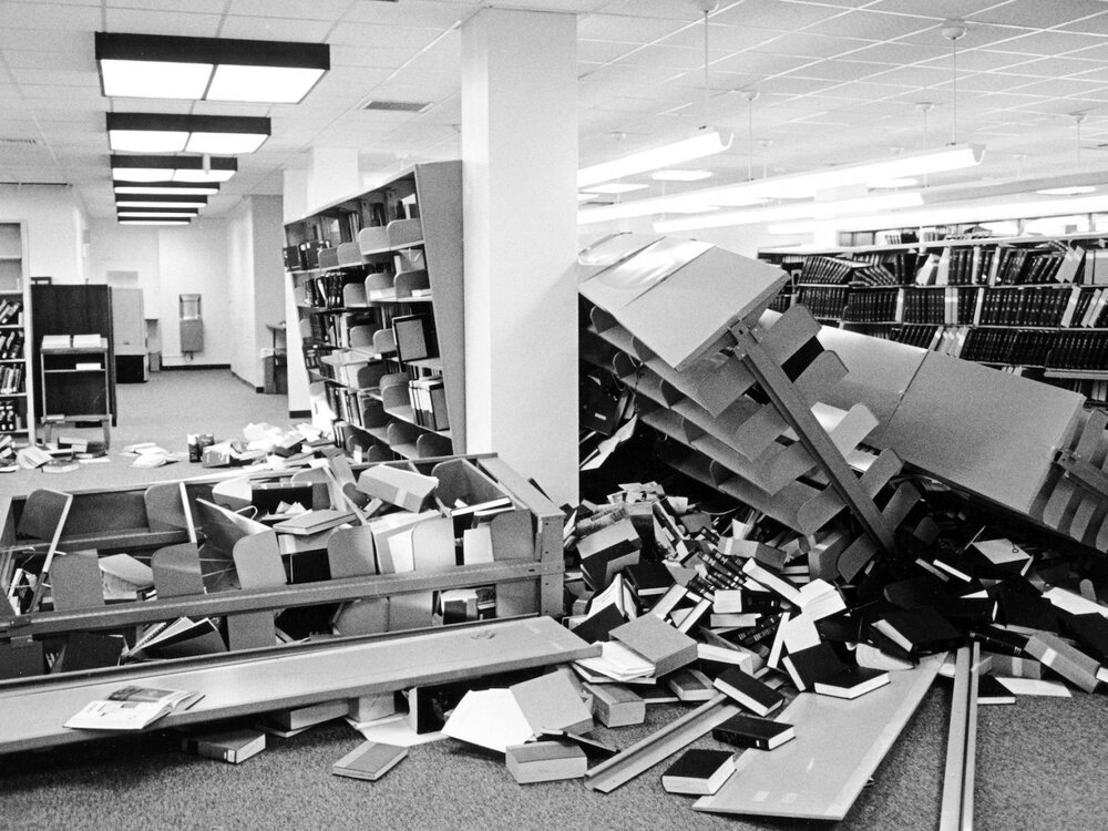 Loma Prieta earthquake, Stanford Library. Photo credit: Chuck Painter/Stanford News Service