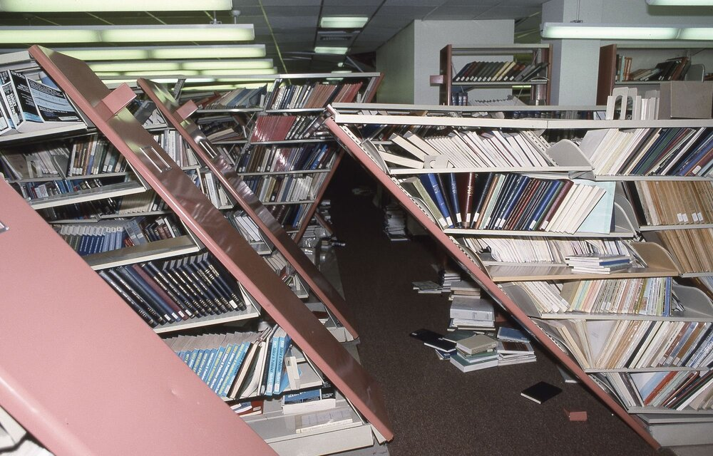 Loma Prieta earthquake, Stanford Library. Photo credit: Stacy Geiken/Stanford News Service