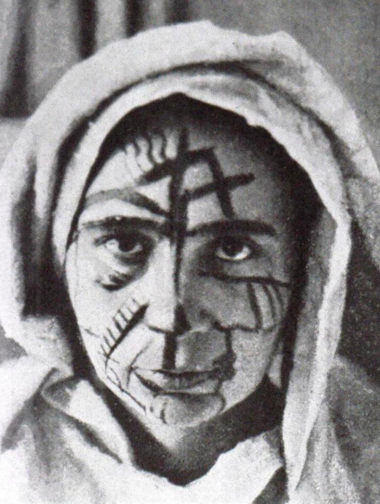 Наталія Гончарова в футуристичному гримі. Фото 1912 року