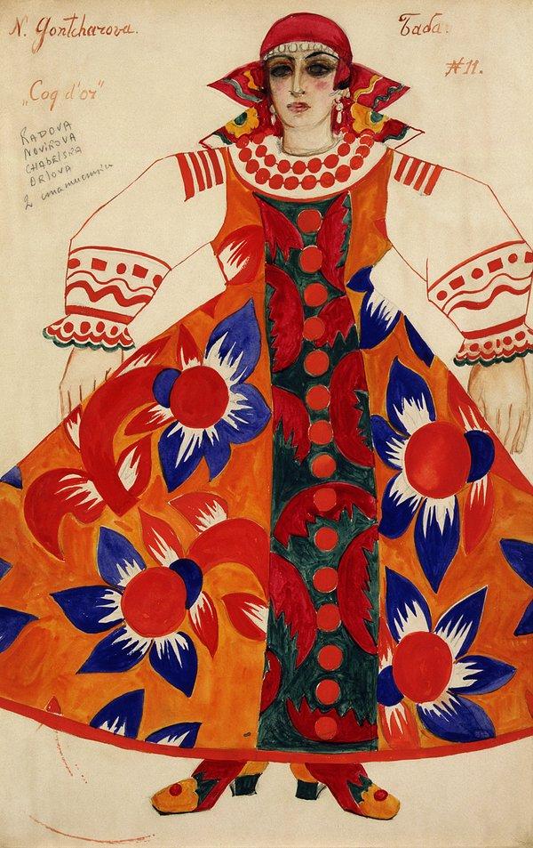 Наталія Гончарова. Дизайн костюму селянки для опери-балету «Золотий півник», 1937. Фото © ADAGP, Paris and DACS, для theguardian.com