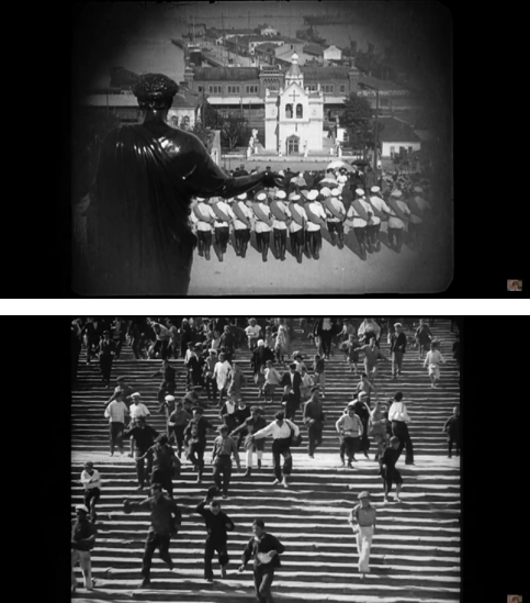"""Кадри зі стрічок «Панцерник """"Потьомкін""""» («Броненосец """"Потемкин""""»), реж. Сергій Ейзенштейн, 1925"""