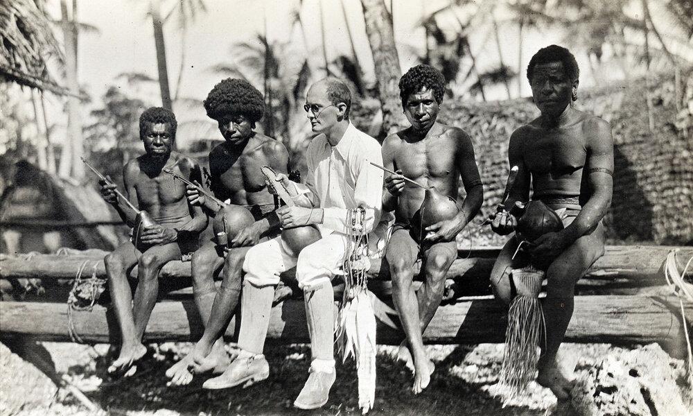 Bronislaw Malinowski with natives on Trobriand Islands, 1918