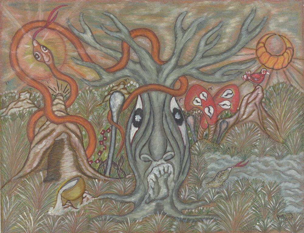 Papisto Boy, Untitled (Tree with Serpent), n.d. © Khadidiatou Samb and Abdou Khadre Djelani Samb, courtesy Staats- und Universitätsbibliothek Hamburg: Nachlass Hubert Fichte, call: NHF : Z : Db 6