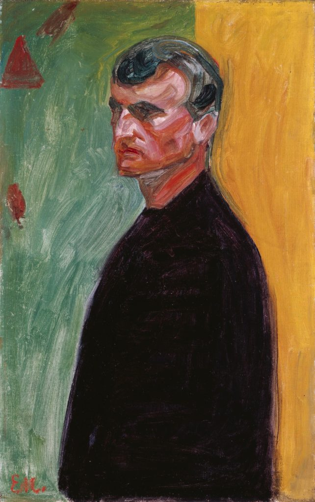 Едвард Мунк, Автопортрет (на тлі двох кольорів), 1904