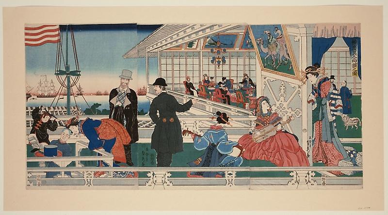 Утагава Садахіде. Американська споруда в Йокогамі, 1861